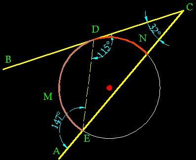 3 los lados son uno tangente y el otro secante for Exterior tangente y secante