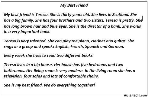 write an essay on my best friend in french Please help me with this french paragraph about my friend please i will love you forever.