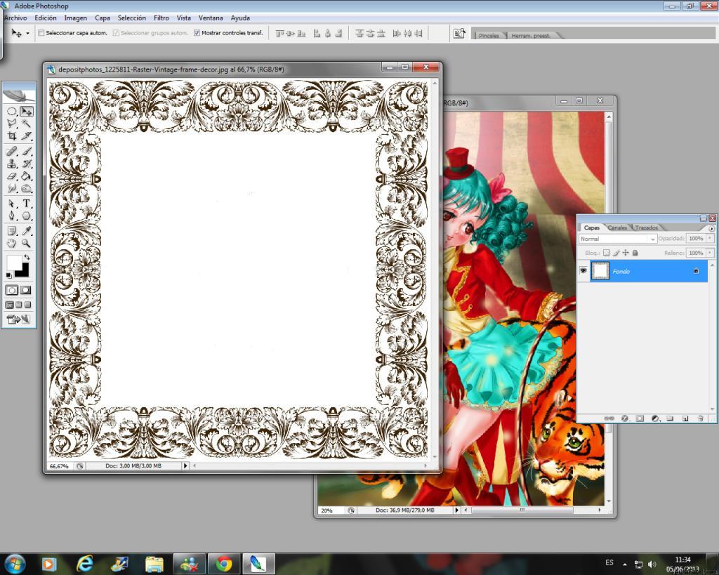 ▷ Colorear con Photoshop - Marco barroco - Manga Domadora de Circo