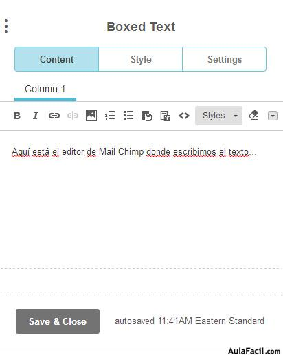 editor  texto mail chimp