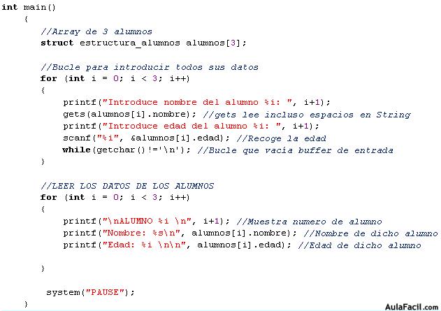 Introducir Y Leer Datos De La Estructura Lenguaje