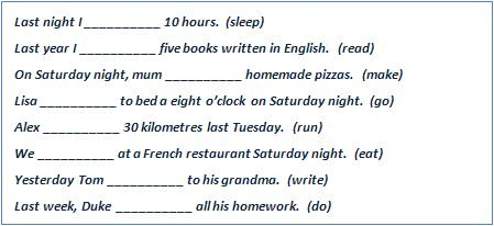 Fill in the gaps with the correct form of the verb in brackets.