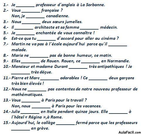 Le verbe tre franc s elemental ejercicios for En y frances ejercicios