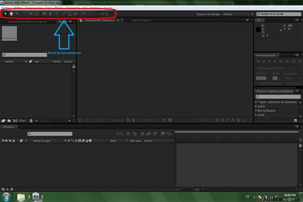 Panel de Herramientas After Effects