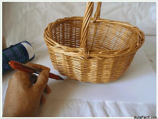 Curso gratis de tocados de novia y fiestas forrar la - Como forrar una cesta de mimbre ...