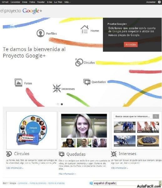 pagina inicio Google Plus