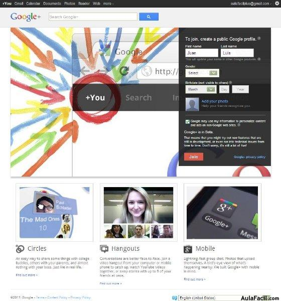 Registrate en Google Plus