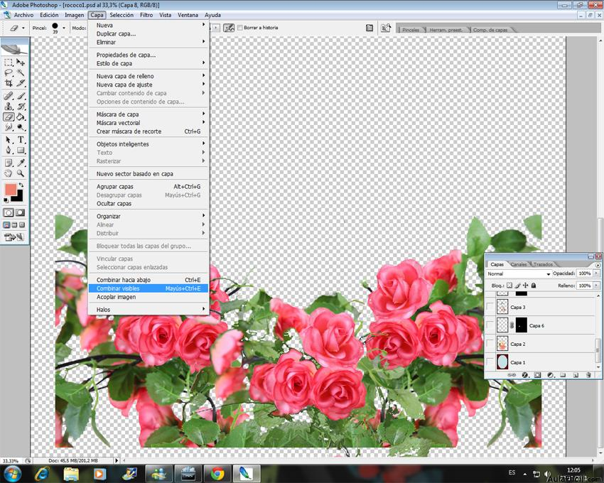 Colorear con Photoshop - Combinar visibles