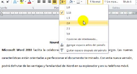 Curso gratis de word 2010 interlineado en un p rrafo for En word cual es el interlineado