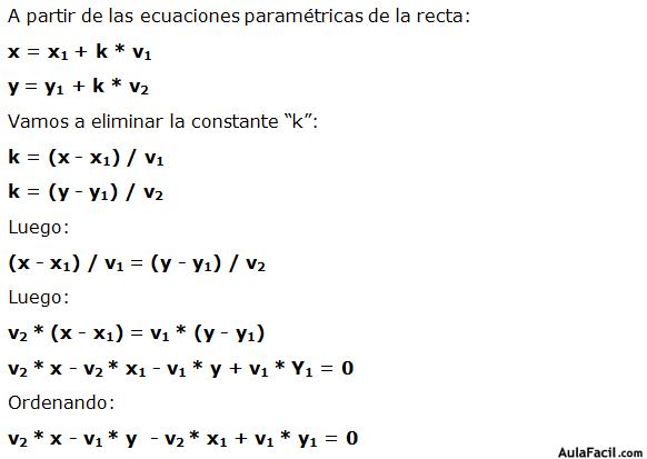 🥇▷【 Ecuación general de la recta - Matemáticas Cuarto ESO 】