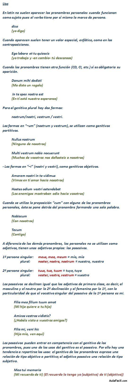 ⏩Pronombres Personales y Posesivos (1ª y 2ª persona) - Latín II ...
