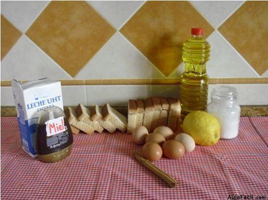 Torrijas. Ingredientes y utensilios