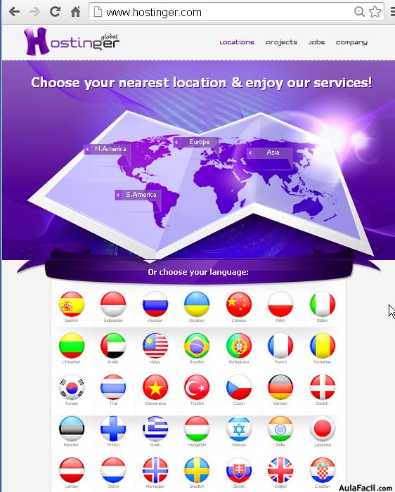 seleccionar ubicacion hostinger