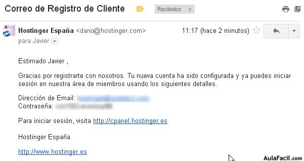 email registro cliente