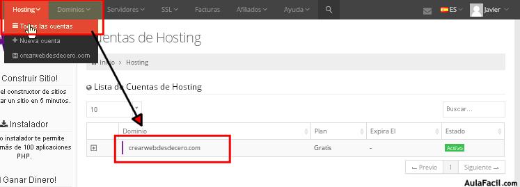 actualizar hosting