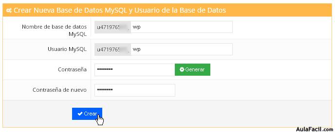 creando base de datos mysql