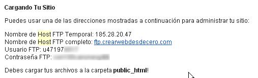 configuracion ftp del sitio hostinger