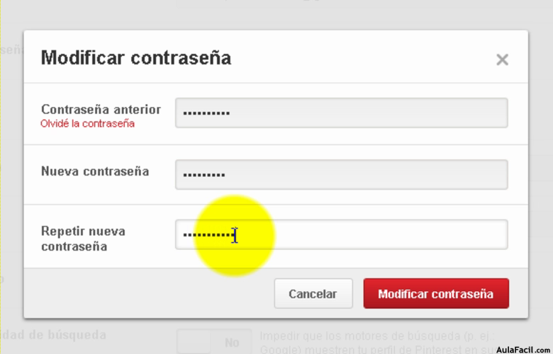 Modificar contraseña de Pinterest