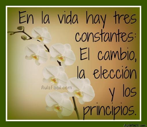 En la vida hay tres constantes: El cambio, la elección y los principios.