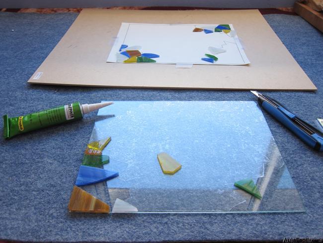 ⏩Montaje: pegado de las piezas de vidrio - Vitral: técnica ...