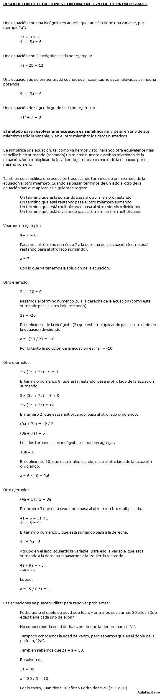 ⏩Resolución de Ecuaciones con una incógnita de primer grado ...