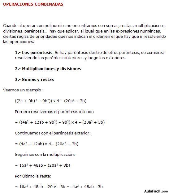 ▷ Operaciones Combinadas - Matemáticas Tercero ESO (14 años)