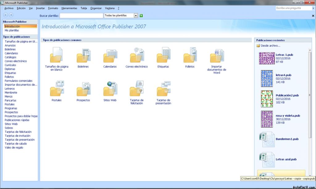 ⏩Tipos de publicaciones - Tarjeta de Presentación en Microsoft ...