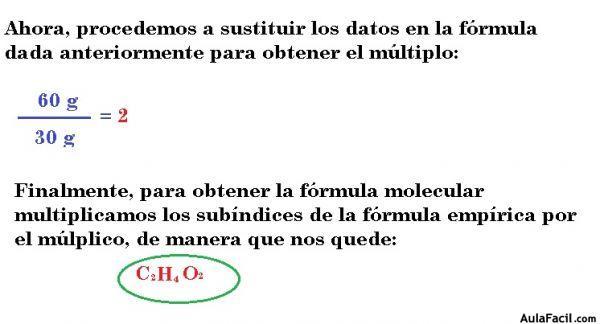 ⏩Fórmula molecular y fórmula empírica - Problemas de química ...