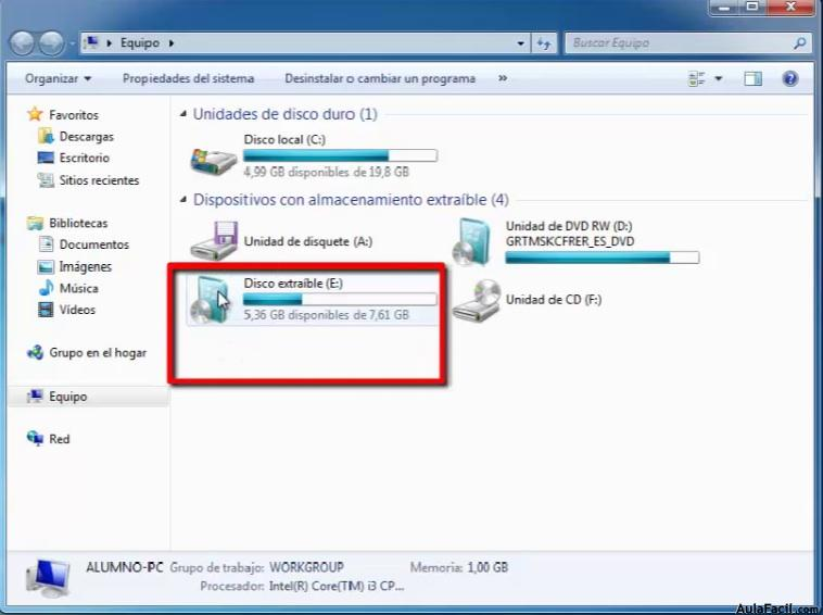 Usb con Windows7