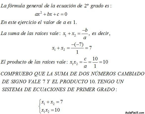 ⏩Suma y Productos de las dos respuestas o raices de una Ecuación de ...