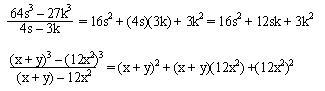Cocientes notables (cubos)