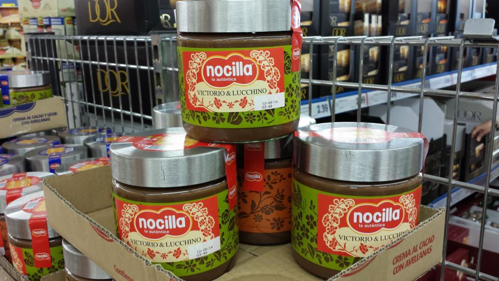 Crema de chocolate Nocilla. Marketing. Envases