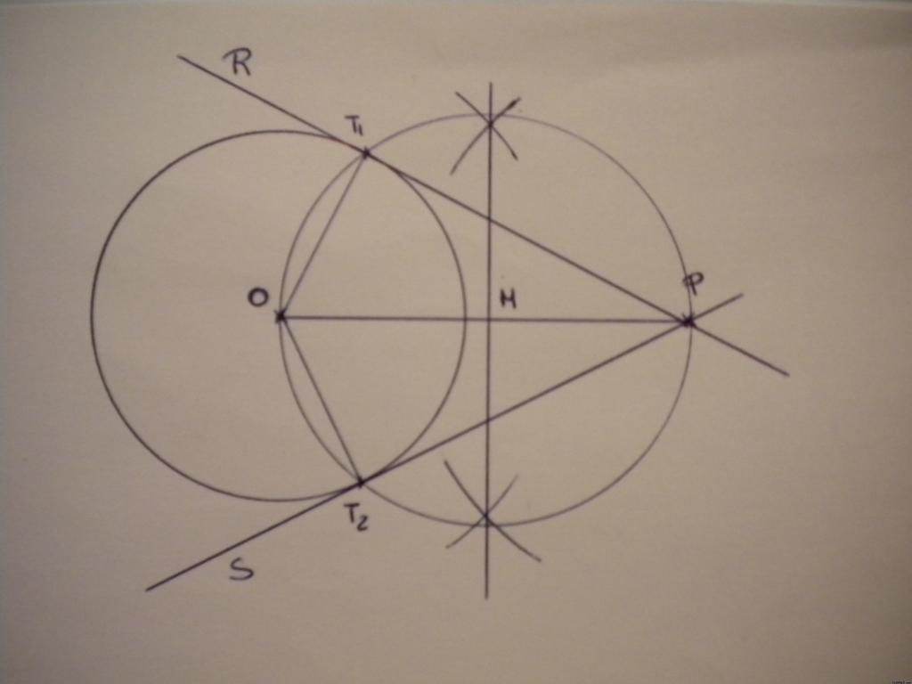 Curso gratis de dibujo t cnico rectas tangentes a una for Exterior a la circunferencia