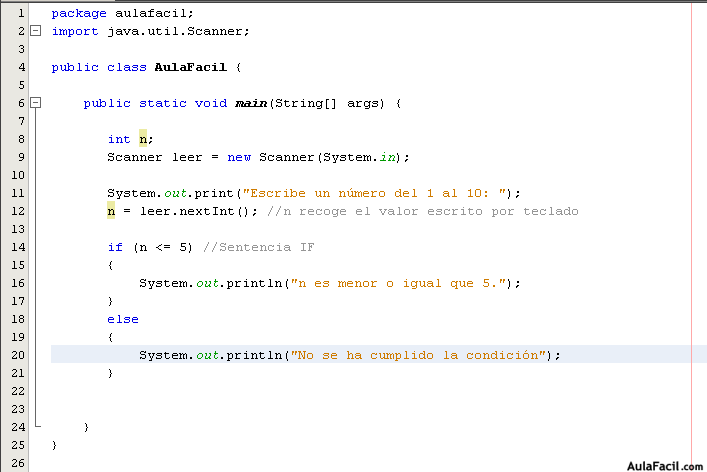 Sentencias If Java Básico