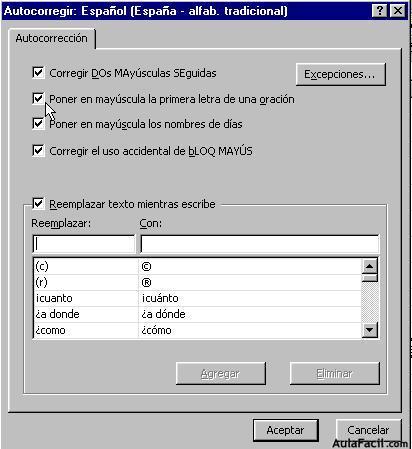 ⏩Ortografía - Microsoft Excel 2000 | AulaFacil.com: Los mejores ...
